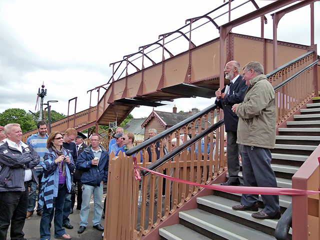 2011 - Williton Station Footbridge Official Opening - John Parsons(Project Leader) hands over to Humphrey Davies Chairman of the West Somerset Railway PLC on 16 July 2011. This work is licenced under a Creative Commons Licence. © Beverley Zehetmeier