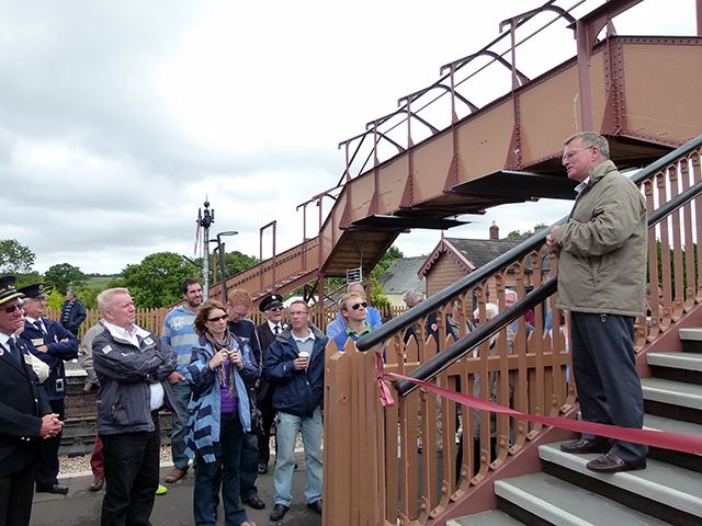 2011 - Williton Station Footbridge Official Opening - Humphrey Davies Chairman of the West Somerset Railway PLC addresses the guests on 16 July 2011. This work is licenced under a Creative Commons Licence. © Beverley Zehetmeier
