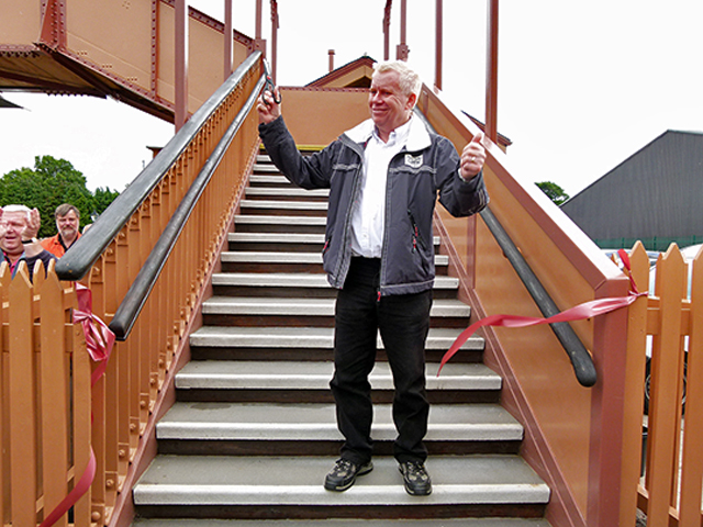 2011 - Williton Station Footbridge Official Opening - Gerald Creed who rescued the footbridge from Trowbridge in Wiltshire in 1989 Officially Opens it at Williton on 16 July 2011. This work is licenced under a Creative Commons Licence. © Beverley Zehetmeier