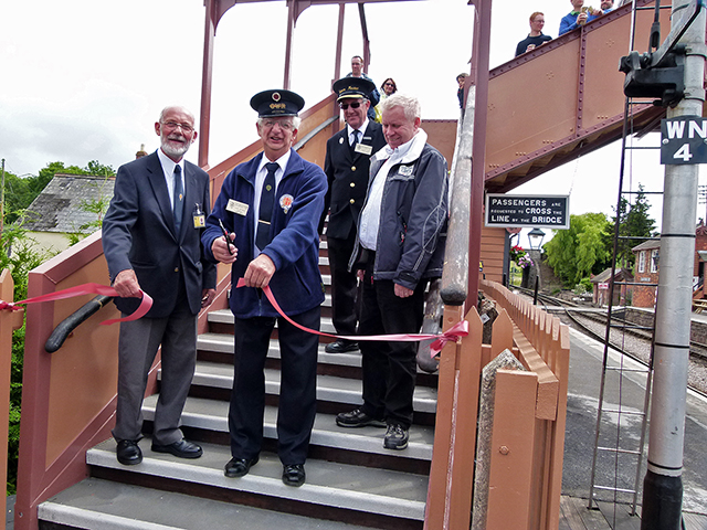 2011 - Williton Station Footbridge Official Opening - Watched by Gerald Creed and Martin Hope, the Williton Station Master, John Byfield and John Parsons cut the tape at the bottom of the steps on Platform 2. A fitting gesture by Gerald to the two people who enabled the late Chris van den Arden's dream to come true. This work is licenced under a Creative Commons Licence. © Beverley Zehetmeier