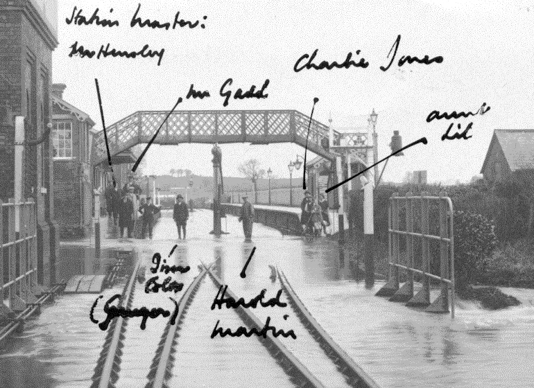 1929 - Williton Station and Crossing Loop Flooded. © Edward Martin