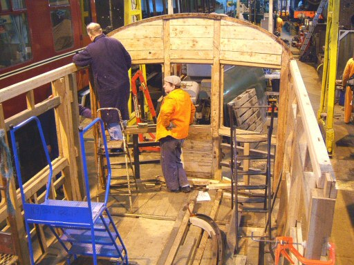 2008 - Work on the rebuilding of Auto Trailer No. 169 continues at Williton - seen on 23 January. This work is licenced under a Creative Commons Licence. © Ian Grady