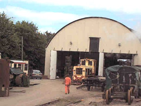 2002 - Lynton and Barnstaple diesel at Williton Shed 28 July. This work is licenced under a Creative Commons Licence © Steve Huddy