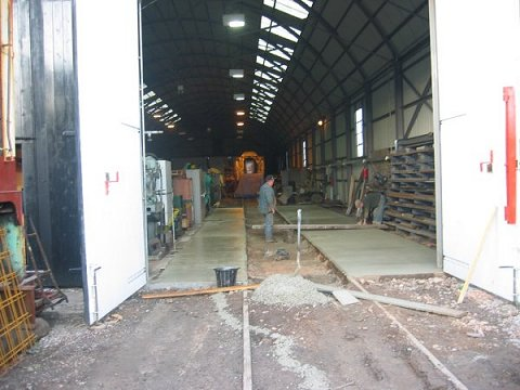 2002 - New concrete floor for the Swindon Shed at Williton on December 17. This work is licenced under a Creative Commons Licence. © JA