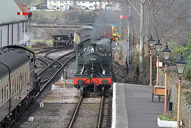 2012 - GWR 4575 Class 2-6-2T No.5553 approaching Williton Station from Doniford on 14 February. This work is licenced under a Creative Commons Licence. ©Martin Hope