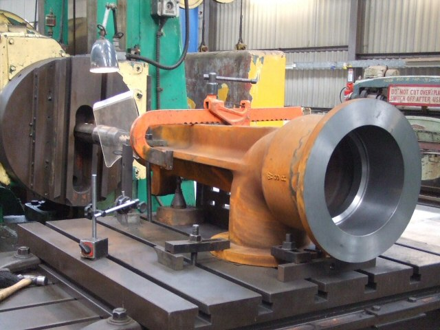2012 - The first new casting being machined at Williton for the new water tower to be erected next to the turntable at Minehead. Seen here on 6 January. Ray Waldron