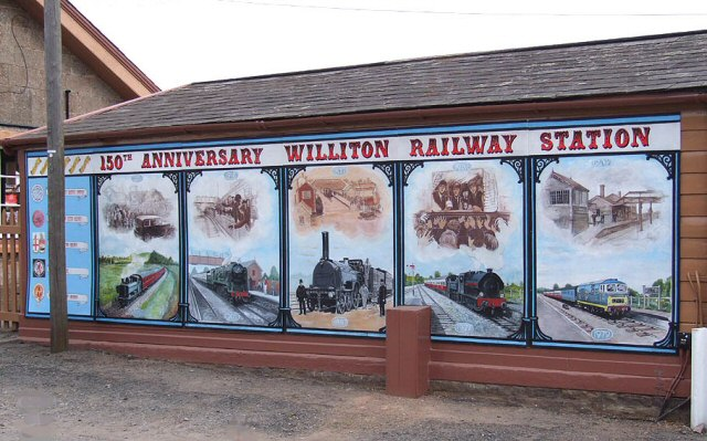 2012 - The Magnificent mural in place at Williton on 31 March celebrating the 150th anniversary of the opening of the original WSR. © Martin Southwood