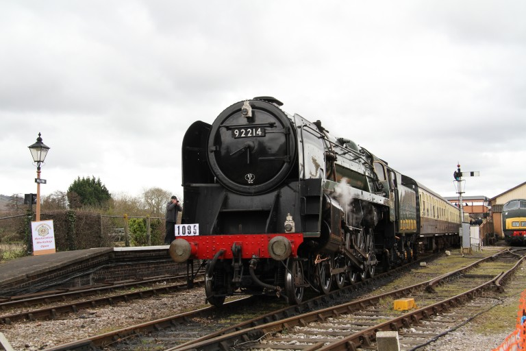 2016 - Class 9F 92214 at Williton on 6 March. This work is licenced under a Creative Commons Licence. © Martin Hope