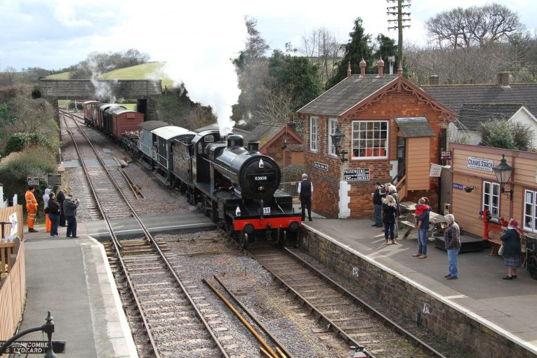 2016 - Class 7F 53808 arriving at Williton with a demonstration goods train on 6 March. © Martin Hope