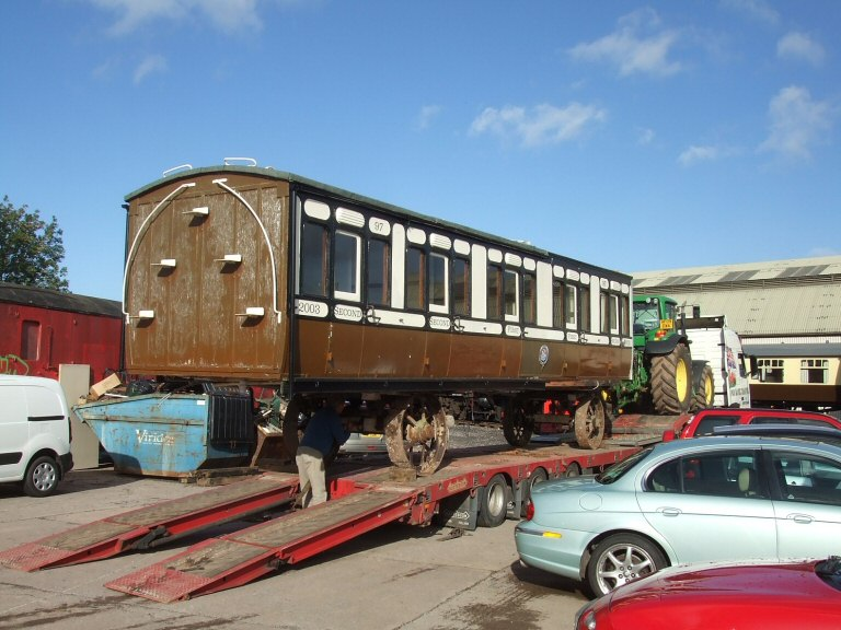 2013 - A coach body just arrived from Dawlish. There are no plans for the coach body at present but at least it has been saved. Seen here on 23 October. This work is licenced under a Creative Commons Licence. © Ray Waldron.