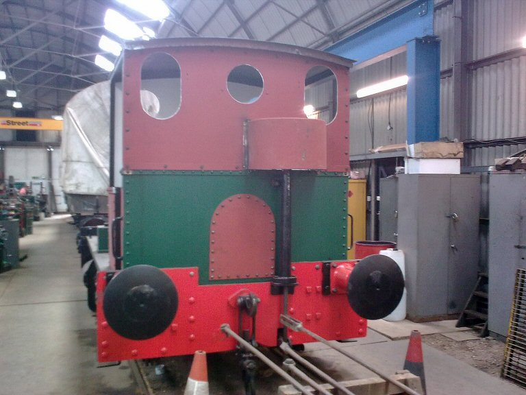 2013 - Barclay 0-4-0ST No.1219 with refurbished cab now in place at Williton on 12 May. This work is licenced under a Creative Commons Licence. © Liam Pope.