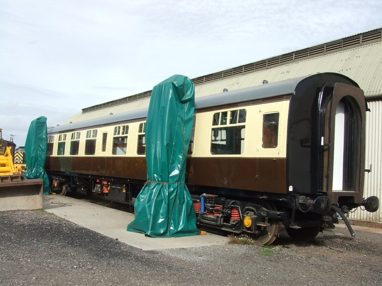 2013 - BR MK I No. 4419 has been shunted out on to the Williton Works lifting pad. The exterior is almost finished but interior remains to be completed. Seen here on 18 October. This work is licenced under a Creative Commons Licence. ©Ray Waldron.