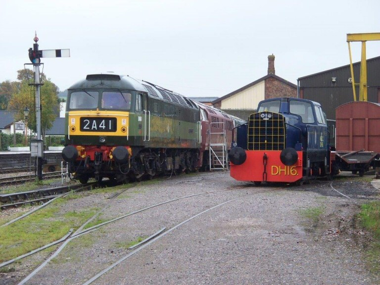 2013 - Class 47 No. D1661 'North Star' and Ex Manchester Ship Canal Sentinel No. DH16 in the South Yard at Williton on 16 September. This work is licenced under a Creative Commons Licence. © Jon Tooke.