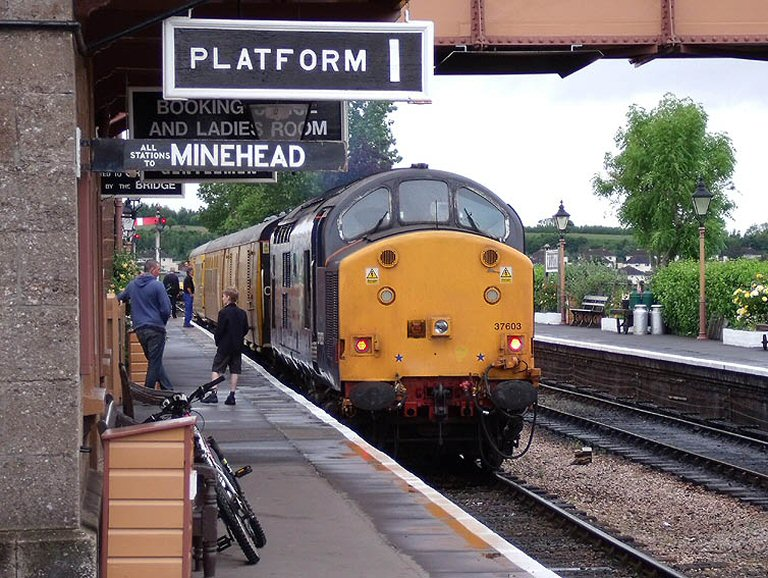 2013 - DRS Class 37 No. 37603 waits with the ultrasonic test train at Williton on 12 June. This work is licenced under a Creative Commons Licence. © Martin Southwood.