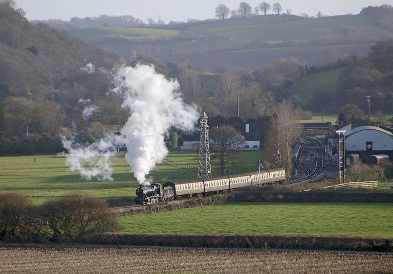 2013 - GWR 2-8-0 No. 3850 seen leaving Williton with a Down train on 31 December. This work is licenced under a Creative Commons Licence. © Alan Turner.