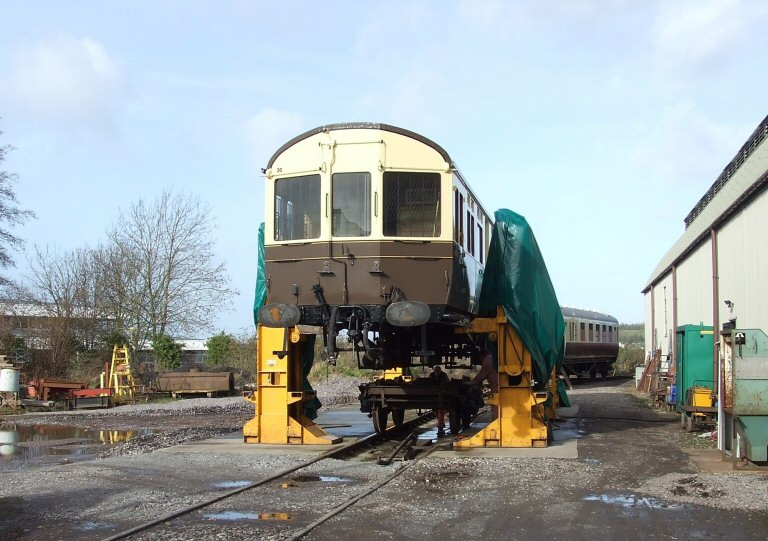 2013 - GWR Autocoach No. 178 lifted to allow bogie repairs by West Somerset Restoration at Williton on 8 February. This work is licenced under a Creative Commons Licence. © Ray Waldron.