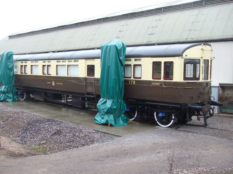 2013 - GWR Aotocoach No.178 rewheeled with new wheels, springs and handbrake cable overhauled - now sitting square and level and ready for the Spring Gala. Seen here on 7 March. This work is licenced under a Creative Commons Licence. © Ray Waldron.