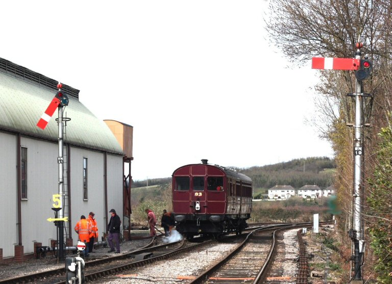 2013 - GWR Steam Railmotor No. 93 (Undergoing gauging trials) has just finished taking water at Williton on 11 March. This work is licenced under a Creative Commons Licence. © Peter Darke.