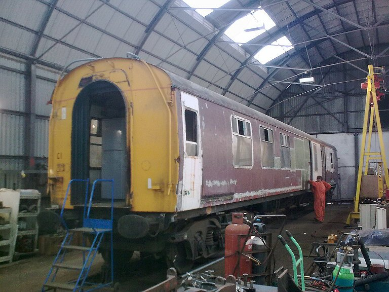 2013 - The refurbishment of the new generator car for the 'Quantock Belle' (former BR BSK E35408) is progressing very well and is now back to bare metal. This work is licenced under a Creative Commons Licence. © Liam Pope.