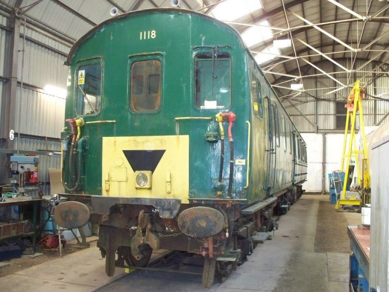 2013 - Thumper Class 205 DMBSO No. 60117 (from unit 1118) currently being worked on by West Somerset Restoration at Williton. Seen here on 7 December. This work is licenced under a Creative Commons Licence. © Jon Tooke.