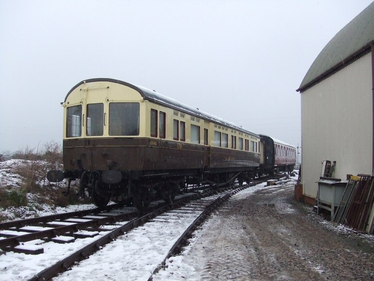 2013 - GWR Autocoach No.178 standing on Sherrings Road at Williton. No.178 will be lifted for minor repair work and reassembled for use in the Spring Gala - seen on 23 January. This work is licenced under a Creative Commons Licence. © Ray Waldron.