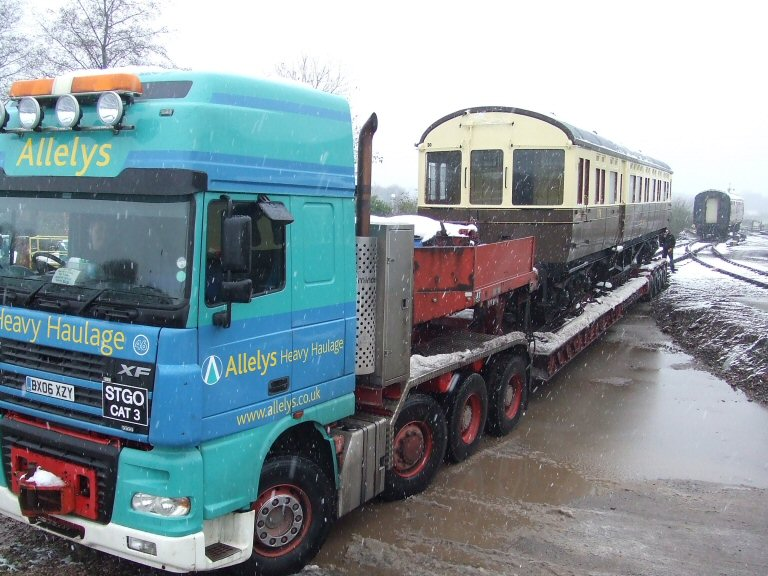 2013 - Preparing to unload GWR Autocoach No.178 at Sherrings Yard Williton on 23 January. This work is licenced under a Creative Commons Licence. © Ray Waldron.