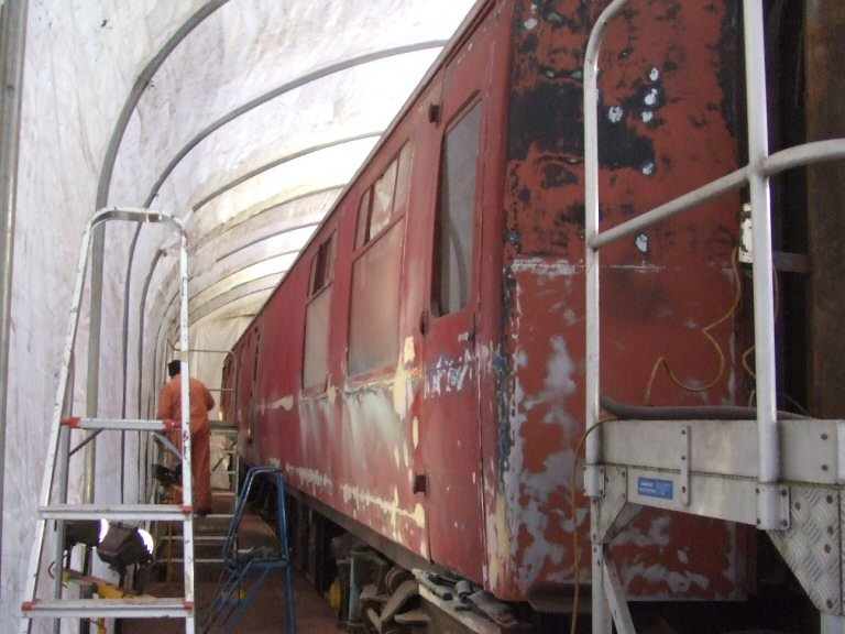 2013 - The first of the 'Quantock Belle' vehicles is prepared for repainting in the new polytunnel paintshop at Williton on 11 January. This work is licenced under a Creative Commons Licence. © Ray Waldron.