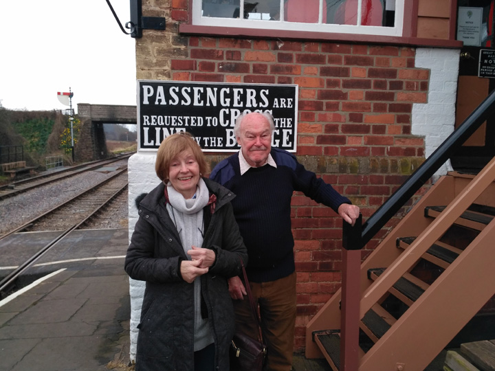 2018.03.17. Prunella Scales CBE with husband Timothy West CBE visit Williton Signal Box during their outing on the WSR. © Chris Hooper