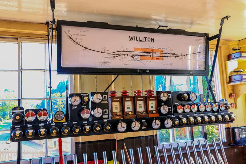 2018.10.09. Williton Signal Box Diagram and Block Shelf.  © Frank Earl