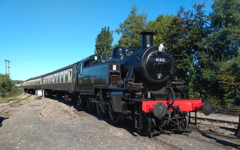 2018.09.27. Having propelled its 12.24 Williton arrival from Norton Fitzwarren into Williton North Yard siding, BR Ivatt 2-6-2 T awaits it's return path. © Chris Hooper