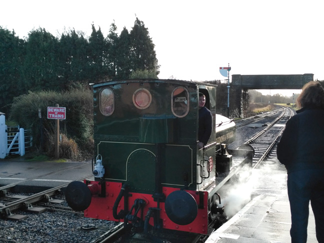 Bagna2018.01.01. Ryan Pope's diminutive Bagnall 0-4-0 tank arrives at Williton with Signalman Robin Moira White in attendance 11:45. © Chris Hooperll 0-4-0 tank arrives at Williton