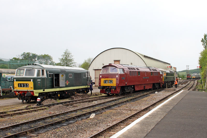 2017.05.06. Diesel shunting at South Yard, Williton with Hymec D7017, Western Campaigner D1010 and 'Crompton' D6566 on the move - and the DMU in the distance. © Beverley-Zehetmeier
