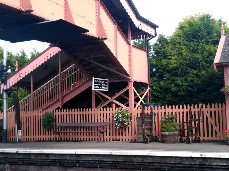 2019.08.30. Footbridge to Platform 2 on a warm afternoon at Williton Station. © Chris Hooper.