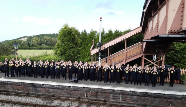 2019.08.10. The Rock Choir from local towns performs on Williton Station. © Beverley Zehetmeier.
