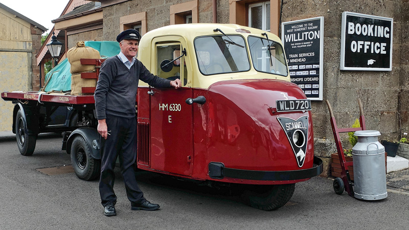 2019.10.03. 1954 3-Ton Scammell Scarab delivery lorry in British Railways livery on display at Williton Station with owner Chris Pratt.  © Beverley-Zehetmeier