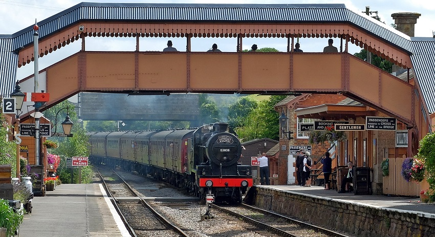 2019.08.17. Mainline charter from Paddington is hauled through Williton by our S&D 7F No.53808. © Beverley Zehetmeier.
