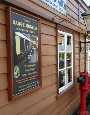 2019.04.17. A new poster adorns the wall of the Williton Station café advertising the Bishops Lydeard station museum. © Richard Salt