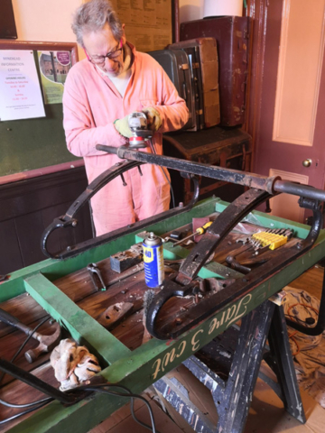 2020.01.14 LSWR Luggage Trolley from Bow station in Devon is being renovated this winter. © Richard Salt.