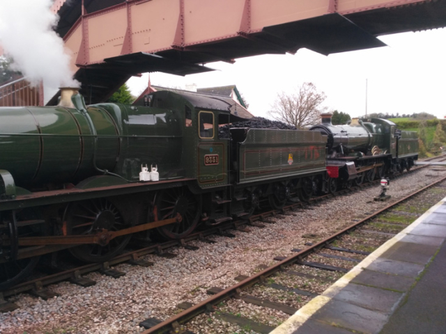 2020.11.20.  GWR Mogul and Manor await departure from Williton during a train crew refresher course. © Chris Hooper