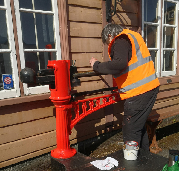 2021.05.16 Our goods scales are receiving a skilled repaint from Glenys. © Richard Salt